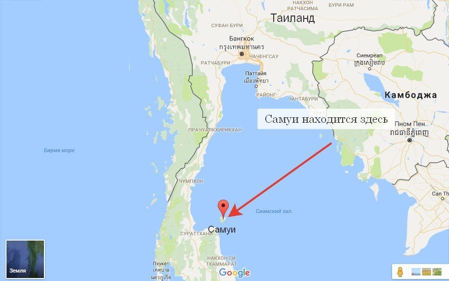 Самуи на карте Таиланда