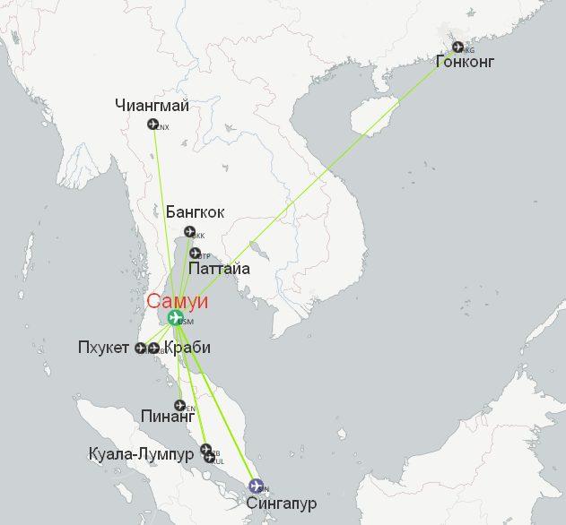 Карта маршрутов аэропорта Самуи
